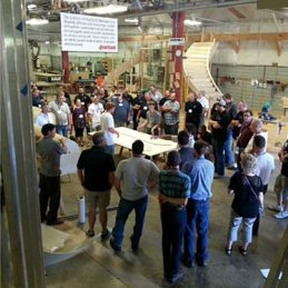 Sales representative Hermann Hasebrink attended the event at our customer´s Heartland Stairways workshop in the US, which was part of the SMA´s (Stairbuilders and Manufacturer´s Association) National Workshop Tour.