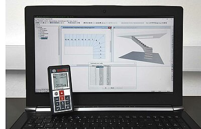 The company Compass Software has integrated the Bosch Laser Measurement Tool GLM 100C into their staircase construction software.