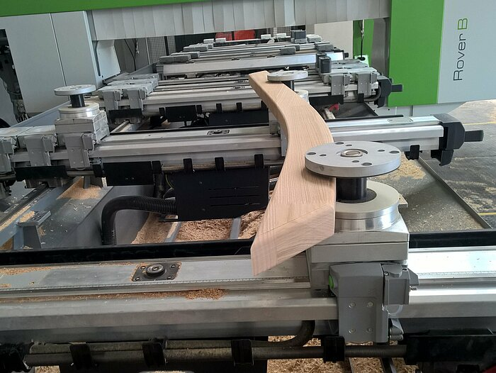 Staircase parts on Biesse CNC controlled with Compass Software.