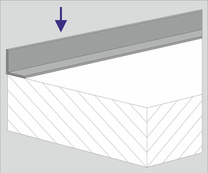 The new bracket for wells is used to mark-off the exit tread from the ceiling covering but is also used as a support for the balcony railing at the same time.